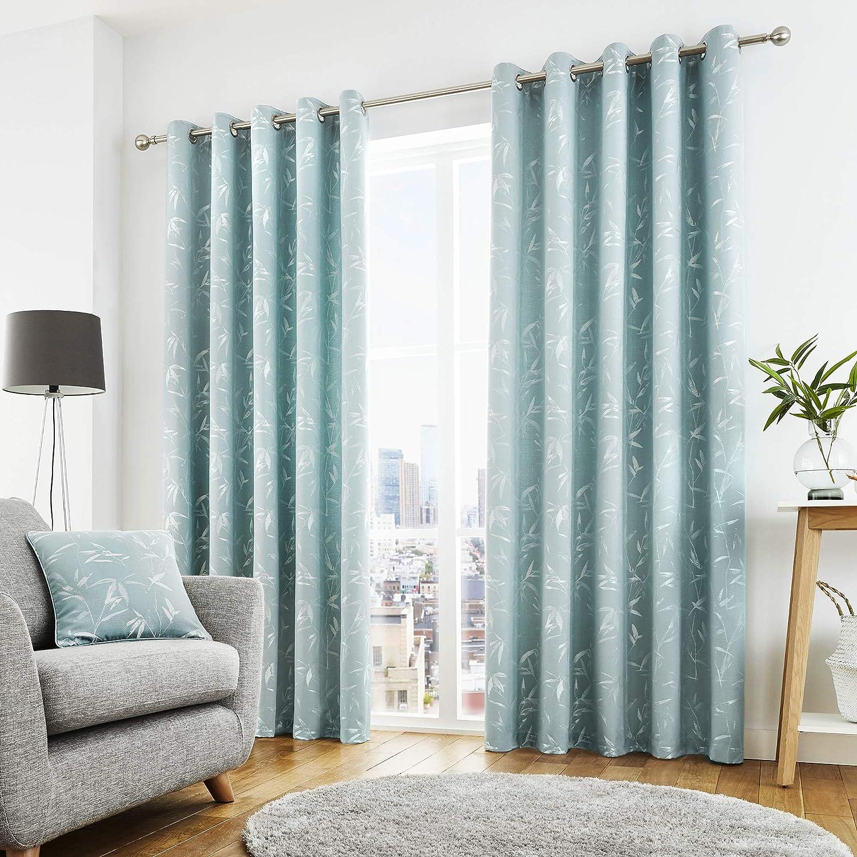 """Curtina - Sagano - Ready Made Lined Eyelet Curtains - 66"""" Width x 72"""" Drop (168 x 183cm) in Duck Egg Blue W168cm (66) x D183cm (72) Duck Egg"""