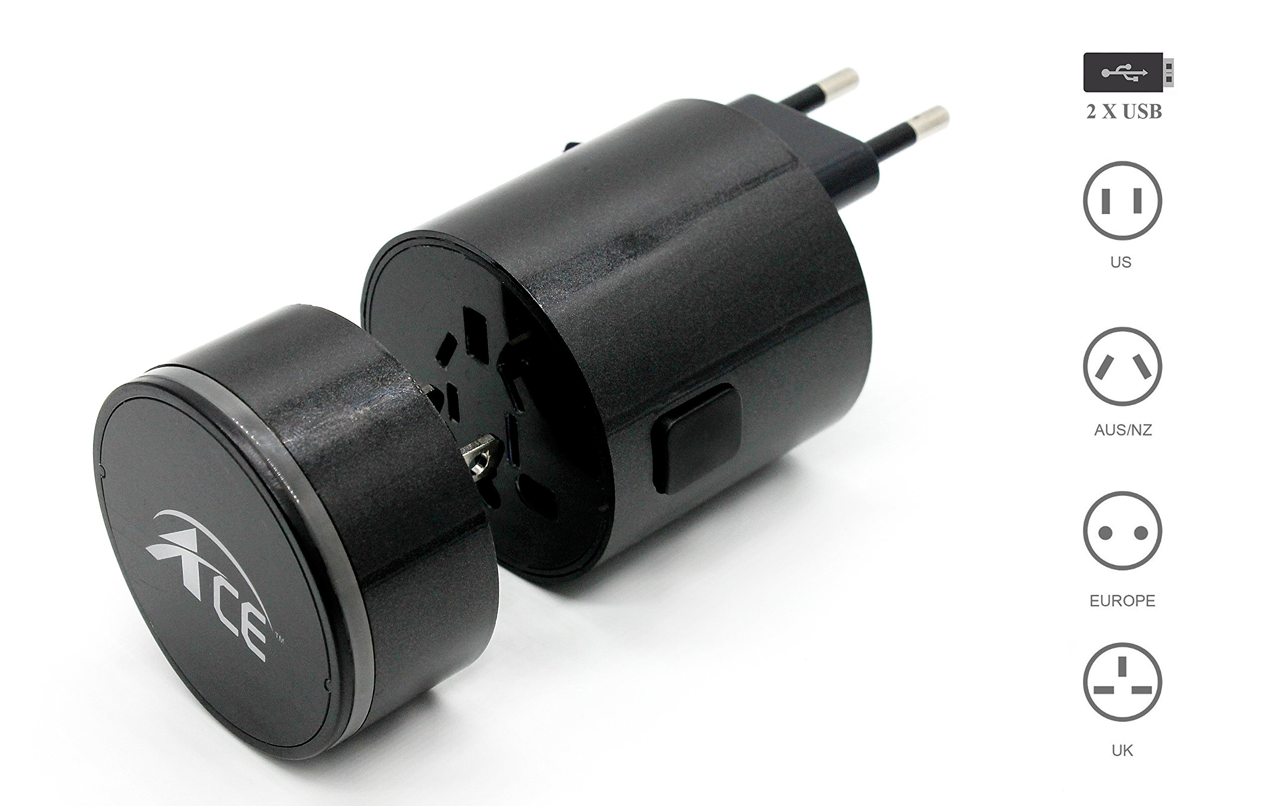 Worldwide Travel Adapter by Ace Adapters   Universal, All-In-One Dual USB Charger   Best International Plug Adapter   Protection Bag   Europe, Asia, Australia Travel   150 Countries   X4 Black