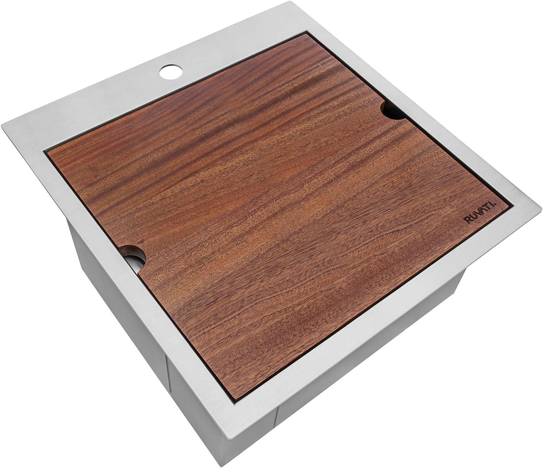 Ruvati 21 x 20 inch RV Workstation Drop-in Topmount Bar Prep Kitchen Sink 16 Gauge Stainless Steel - RVH8221