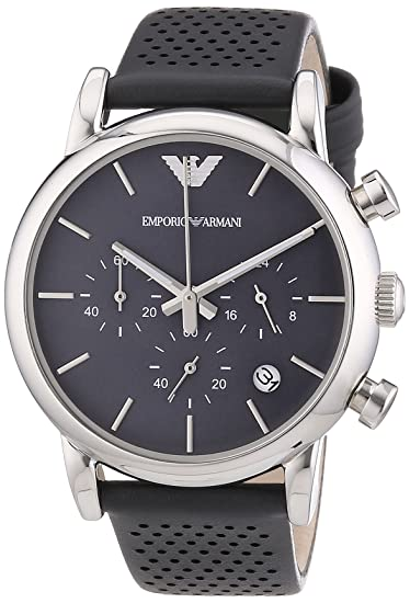 Emporio Armani AR1735 - Reloj para hombres, correa de cuero color gris: Amazon.es: Relojes