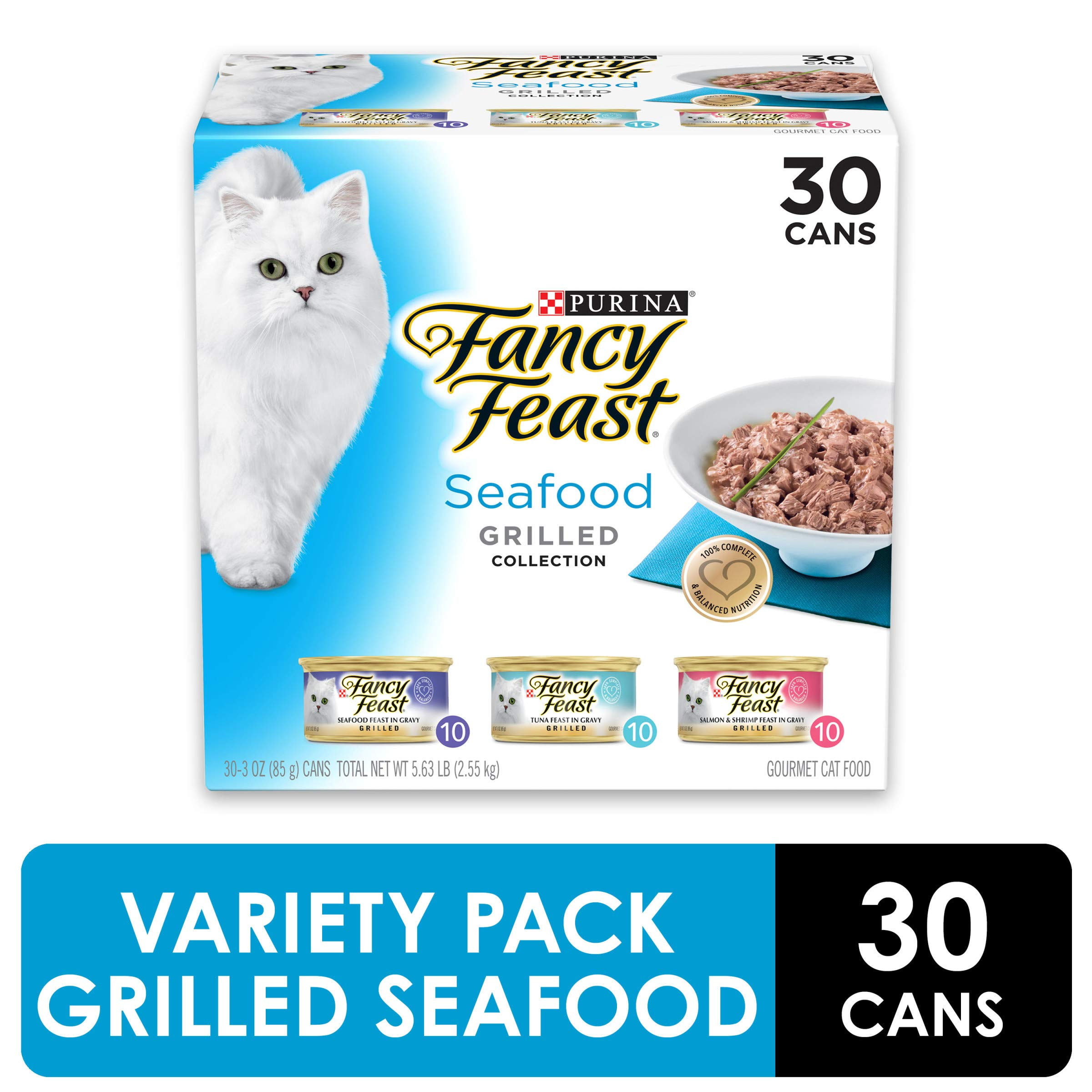 Purina Fancy Feast Gravy Wet Cat Food Variety Pack, Seafood Grilled Collection - (30) 3 oz. Cans by Purina Fancy Feast