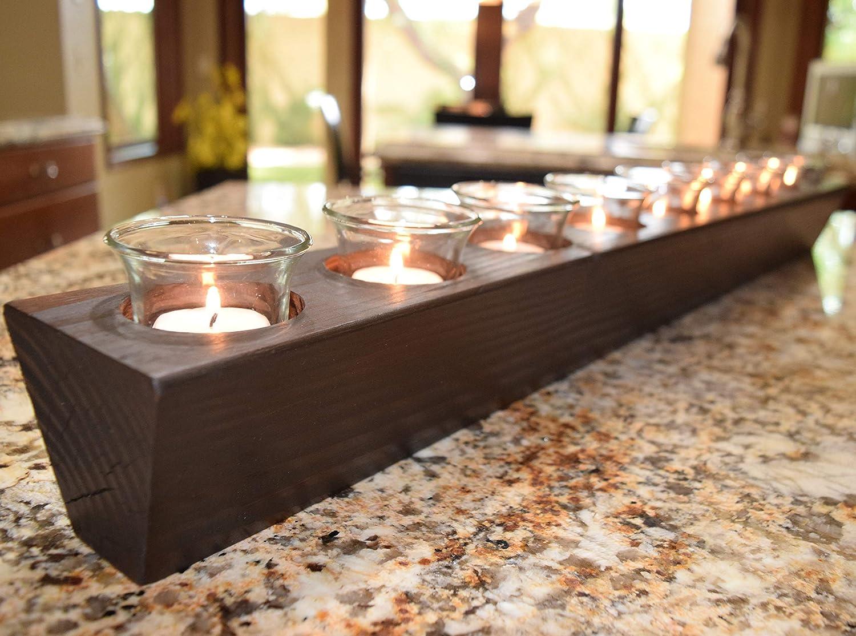 36 Long 9 Candle Centerpiece Table Centerpiece Candle Centerpiece Candle Holder Mantel Decor Mantel Centerpiece Bathtub Candles Handmade