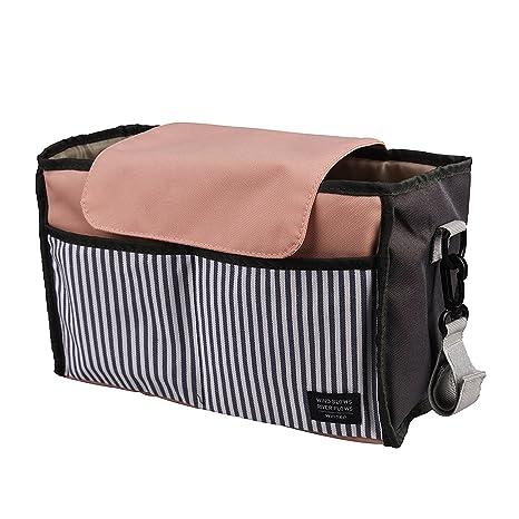 Cochecito Organizador Homi ajuste universal carrito de almacenamiento accesorios bebé pañales cochecito bolsa w/dos taza soporte para bebidas con ...