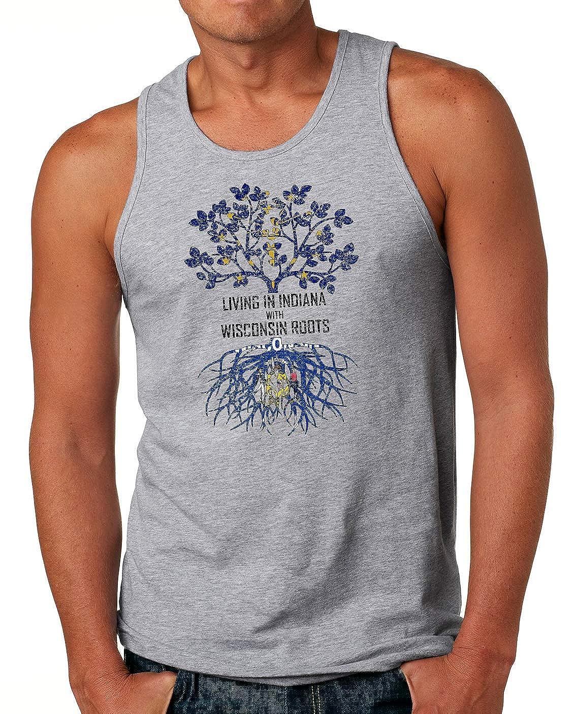 Tenacitee Mens Living in Indiana Wisconsin Roots T-Shirt