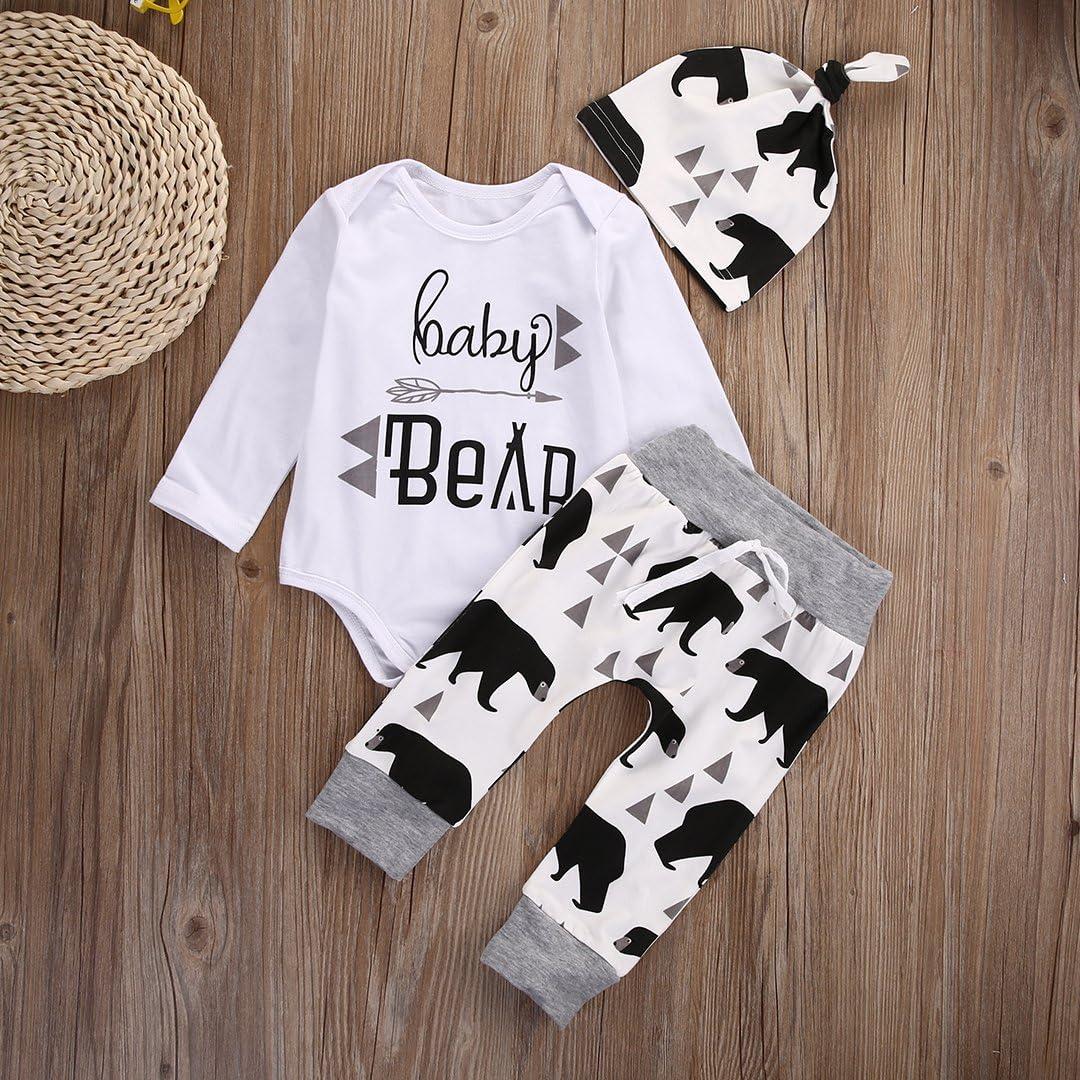 LXXIASHI 3PCS Newborn Baby Boy Girl Letter Print Long Sleeve Romper Tops+Pants Hat Outfits Set Baby Bear Black