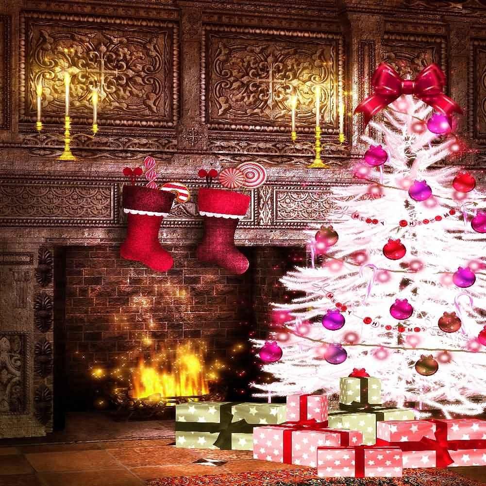 GladsBuy YHB-277 靴下のプレゼント 10フィート x 10フィート デジタルプリント 写真背景 クリスマス テーマ 背景   B016BHVOI2