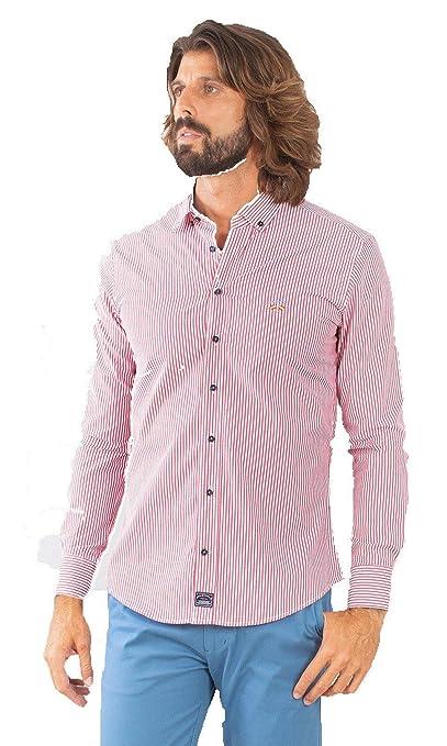 Spagnolo Basica Pop 0068, Camisa Casual para Hombre, (Raya Rojo ...