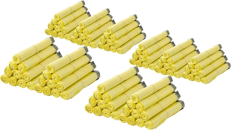BigDean 10 Rollen Gelber Sack ca Ideal f/ür M/ülltonnen Gelbe S/äcke 90 Liter HDPE Gelb 13 St/ück pro Rolle insgesamt 130 St/ück 60x87 cm Plus 5 cm Umschlag 15my M/ülleimer und K/örbe