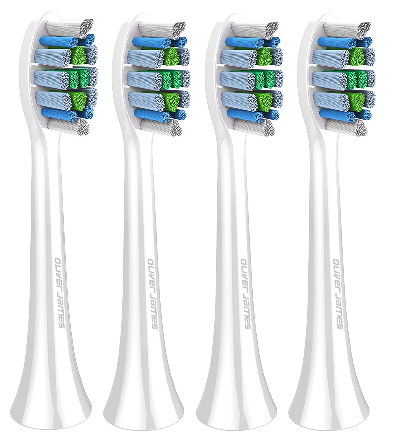 Oliver James New Generation Sonic Electric Toothbrush Replacement Brush Heads - 4 Pack