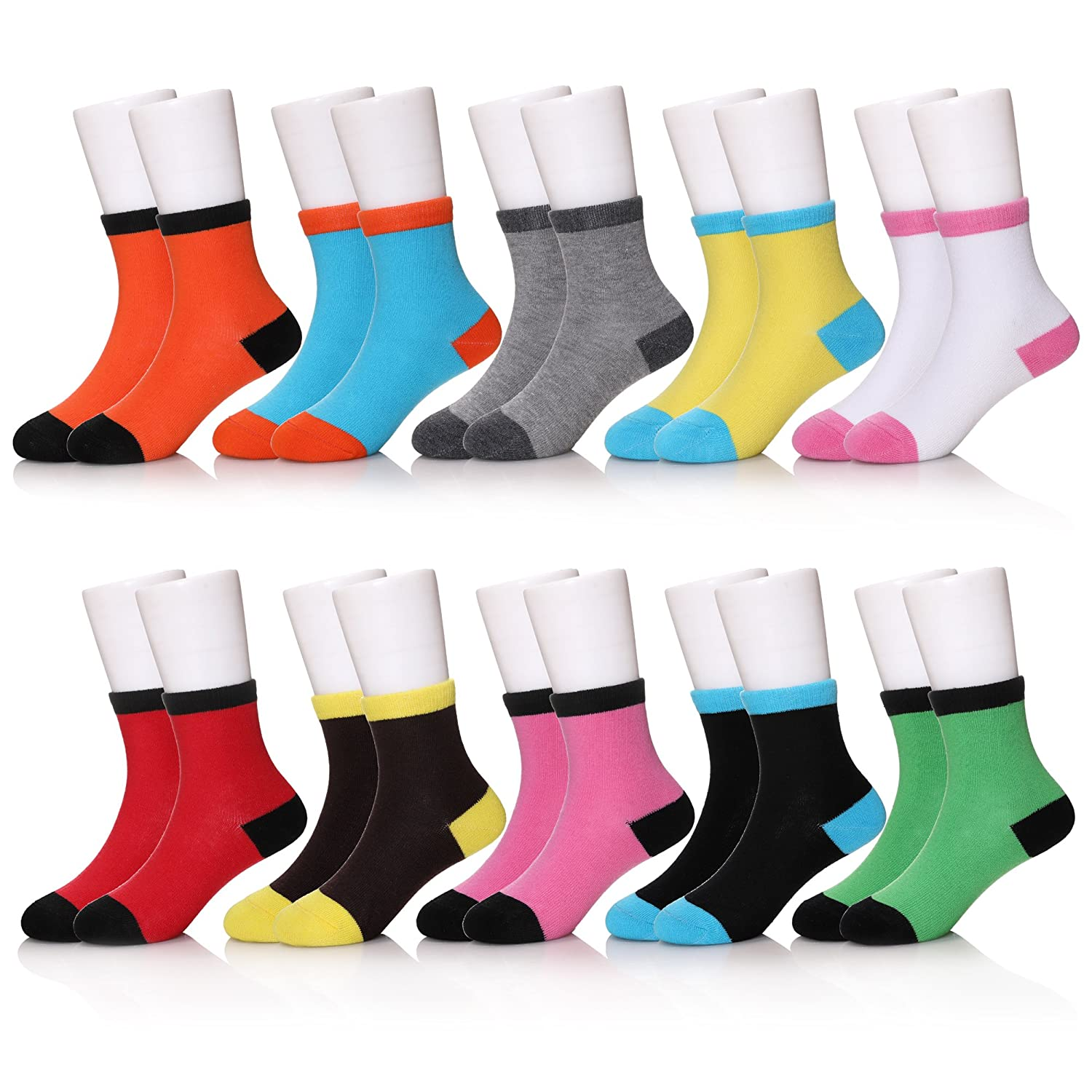 SEEYAN 10 Pairs Kids Baby Boys Girls Casual Colorful Cotton Breathable Warm Soft Crew Socks 10 Pairs Colorful, 7-9 Years