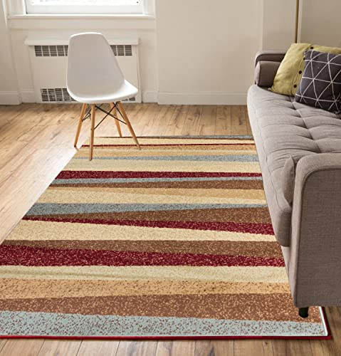 Well Woven Stripes Blue Red 5 x 7 Area Rug Carpet
