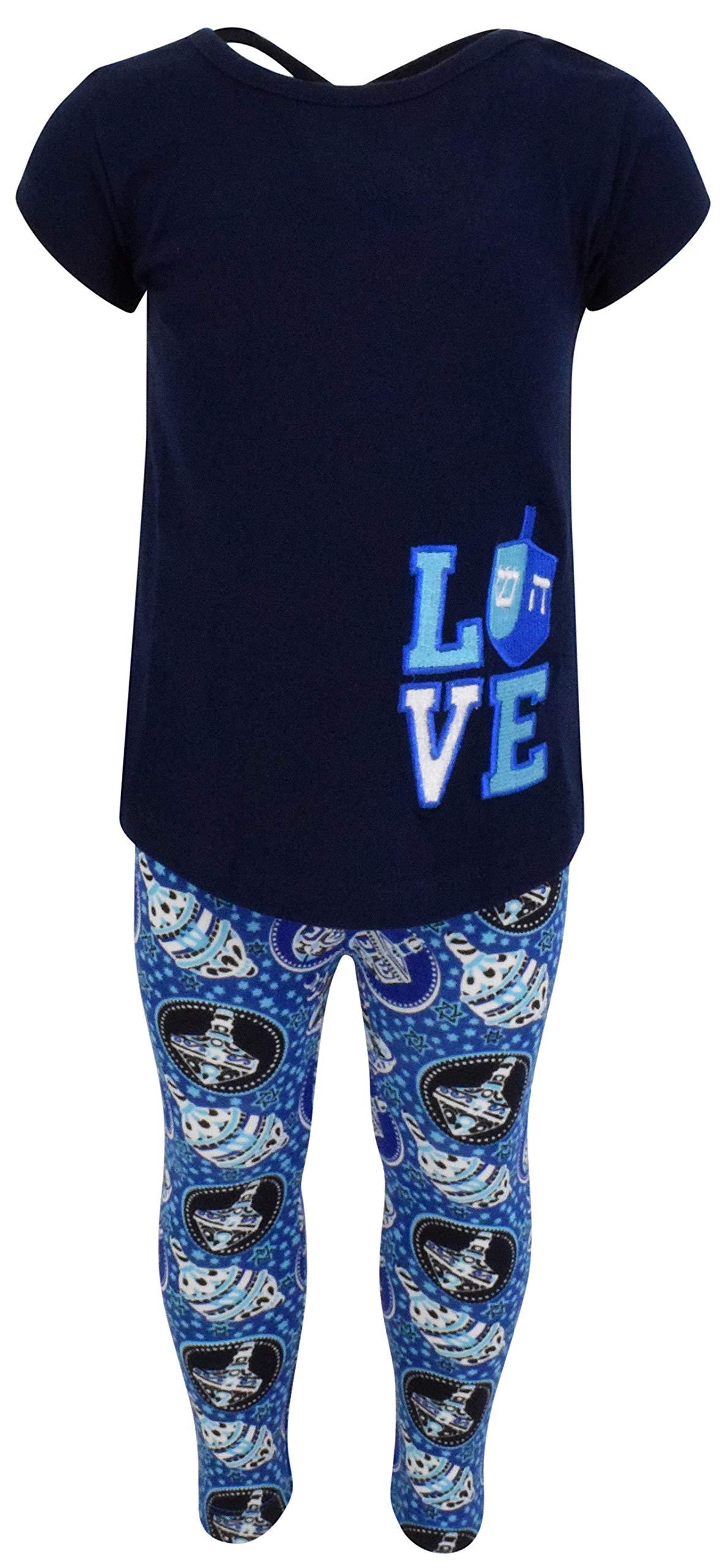 Unique Baby Girls 2 Piece Love Hanukkah Dreidel Outfit Legging Set (7/XXL)