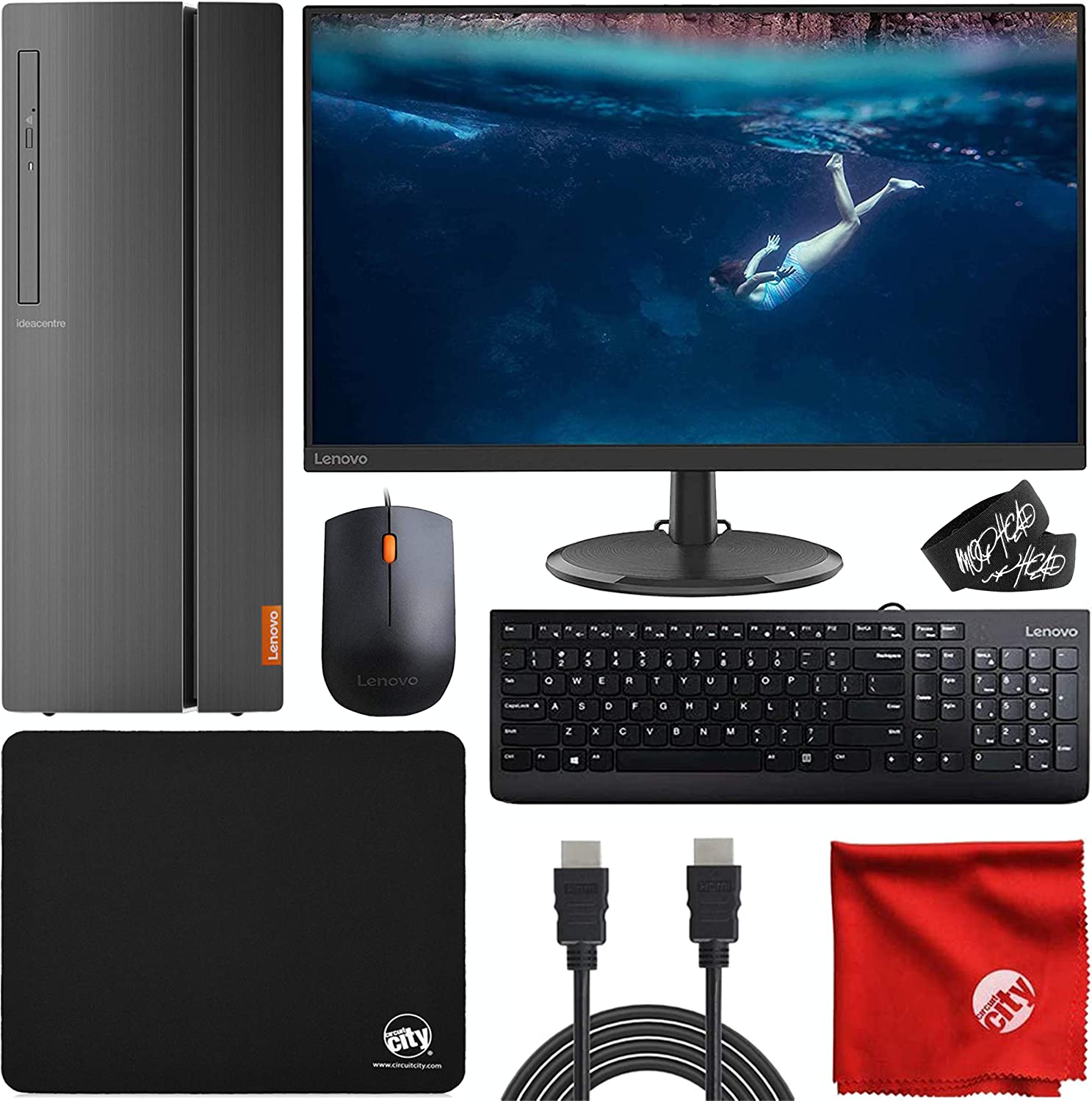 "Lenovo 510A Desktop (AMD Ryzen 3 3200G 3.6GHz, 8GB RAM, Win 10 Pro 64-Bit, 256GB SSD, DVD-RW, Radeon Vega 8) Computer Bundle with Lenovo 27"" IPS 1080p WLED Monitor, Mouse Pad, HDMI Cable, Cable Ties"
