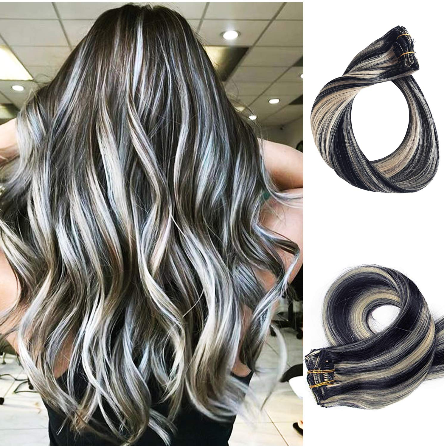 Clip in Human Hair Extensions Balayage 12 Blonde Highlights Real Remy Hair  Extensions Clip on for Women Black with Bleach Blonde Highlights Double ...