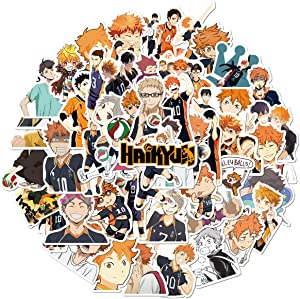 Haikyuu Sticker Pack of 50 Stickers - Waterproof Durable Stickers Classic Japanese Anime Stickers for Water Bottles Computers Laptops (Haikyuu)