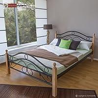 Homestyle4u 1257, Metallbett 140 x 200 Mit Lattenrost, Bettgestell Metall, Pfosten Holz Natur