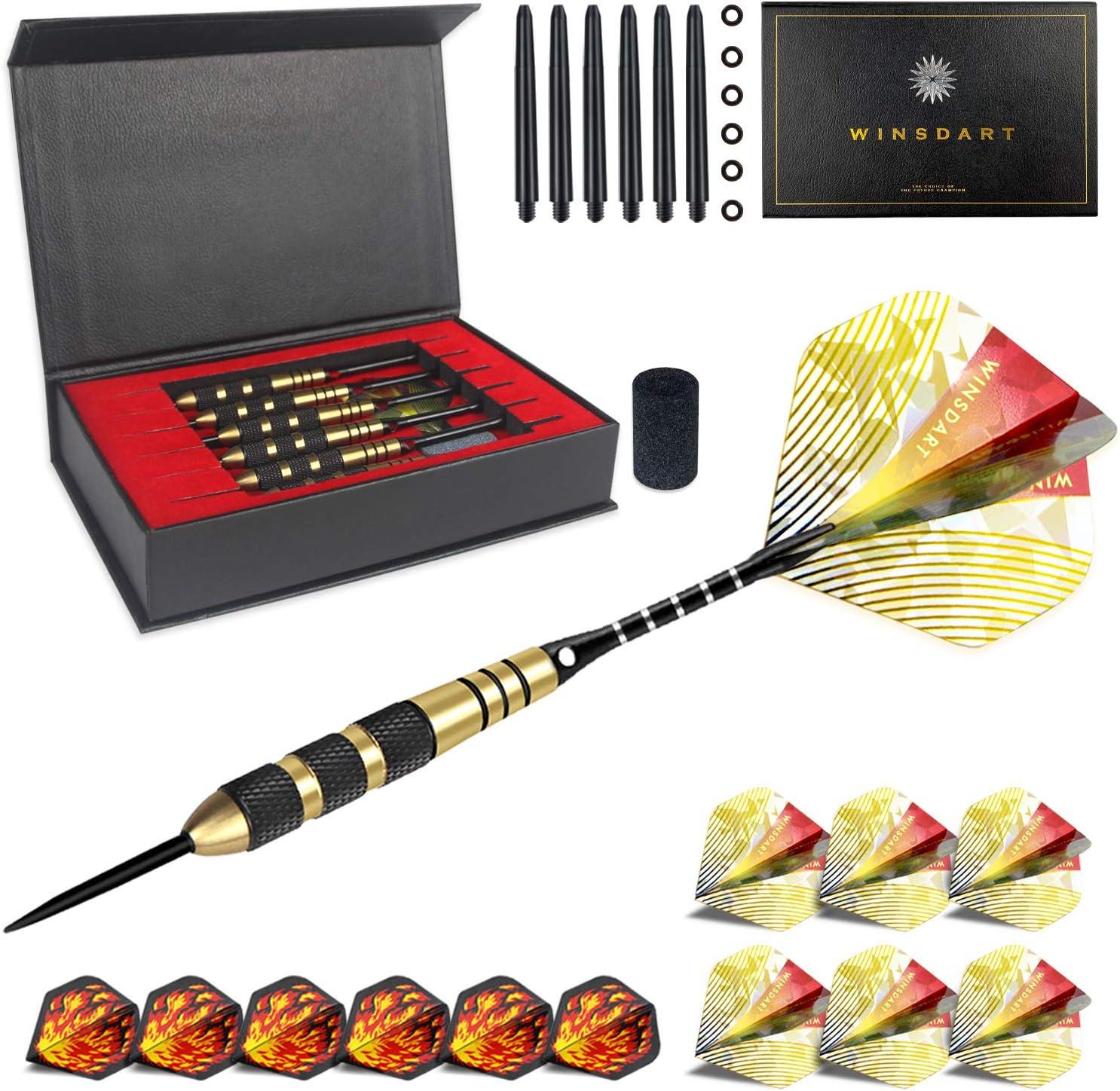 WINSDART Professional Darts Set, Steel Tip Darts 6 Pack 22G Brass Barrels with 12 Aluminum Dart Shafts and Flights, 6 O-Rings + Darts Sharpener + an Gift Box
