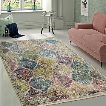 Designer Wohnzimmer Teppich Marokkanisches Muster Hochwertig Bunte ...