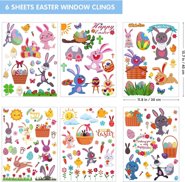 Pasqua PRETYZOOOM festa di Natale pavimento uova di Pasqua per porta da parete in PVC Adesivo per finestra pasquale a forma di coniglietto rimovibile