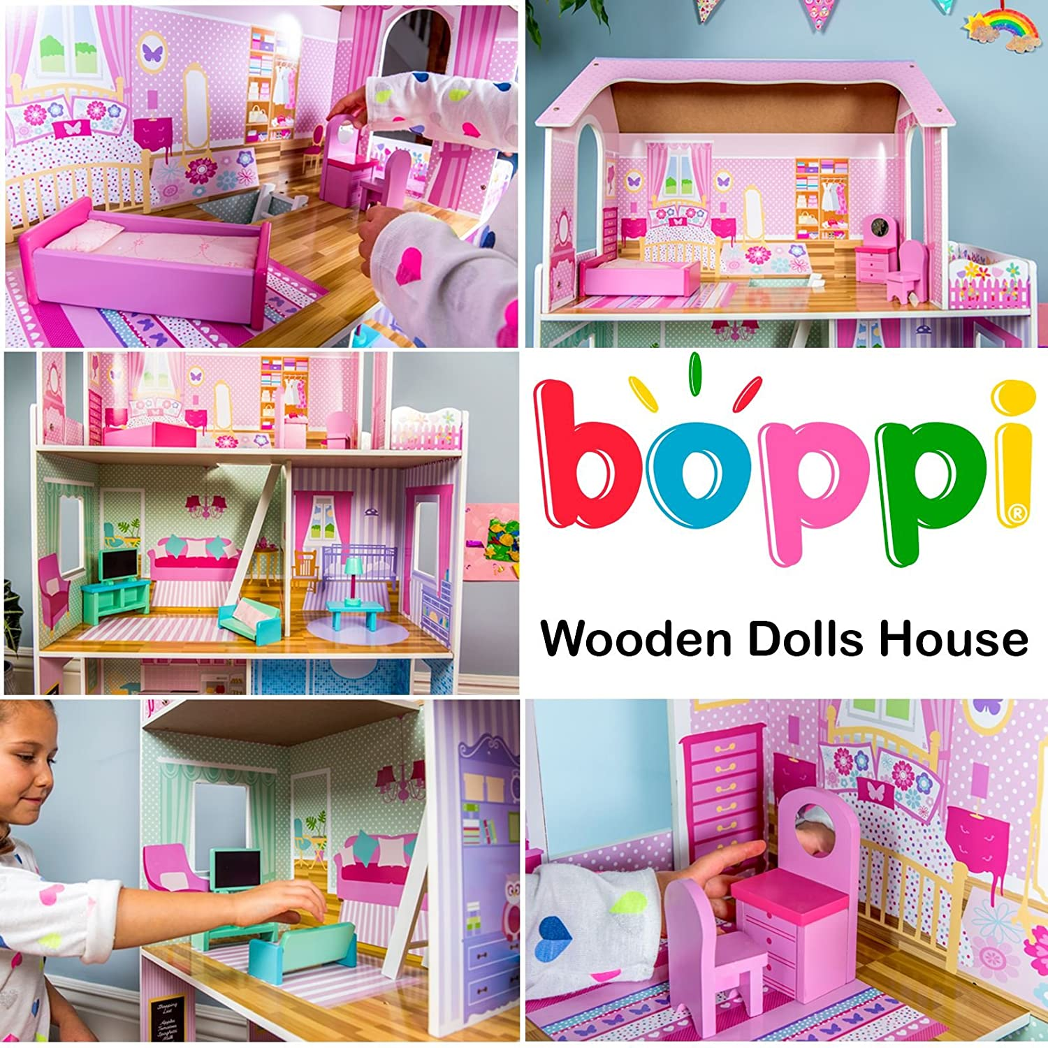 boppi Wooden Dolls House with 15 Furniture Play Accessories