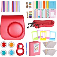 Neewer Red 10-in-1 Accessories Kit for Fujifilm Instax Mini 8/8s: Camera Case/Album/Selfie Lens/ 4xColored Filter/ 5xTable Frame/ 20xWall Hanging Frame/ 40xBorder Sticker/ 2xCorner Sticker/Pen