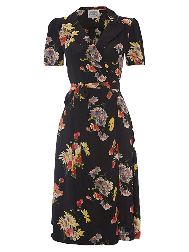 Vintage Tea Dresses, Floral Tea Dresses, Tea Length Dresses 1940s/50s Authentic Vintage Inspired Wrap Dress in Mayflower Print �79.00 AT vintagedancer.com