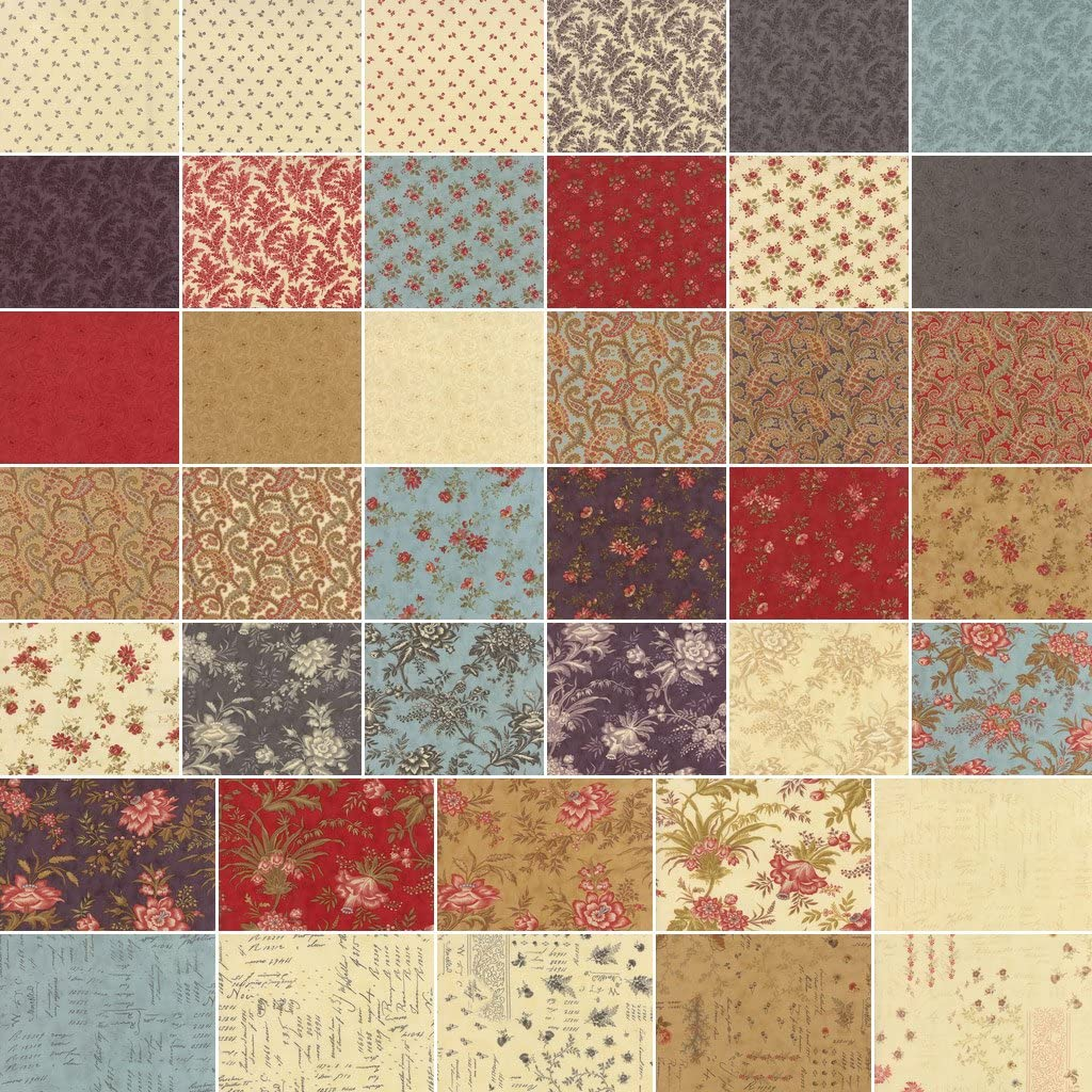 Precut Cotton Fabric Squares Moda 3 Sisters Atelier Charm Pack Set of 42 5x5-inch 12.7x12.7cm