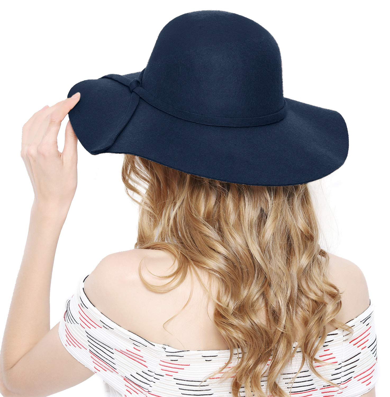 Lovful Women 100% Wool Wide Brim Cloche Fedora Floppy hat Cap,Navy by Lovful (Image #7)