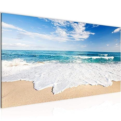 Bilder Strand Meer Wandbild 100 x 40 cm Vlies - Leinwand Bild XXL Format  Wandbilder Wohnzimmer Wohnung Deko Kunstdrucke Blau 1 Teilig - Made IN ...