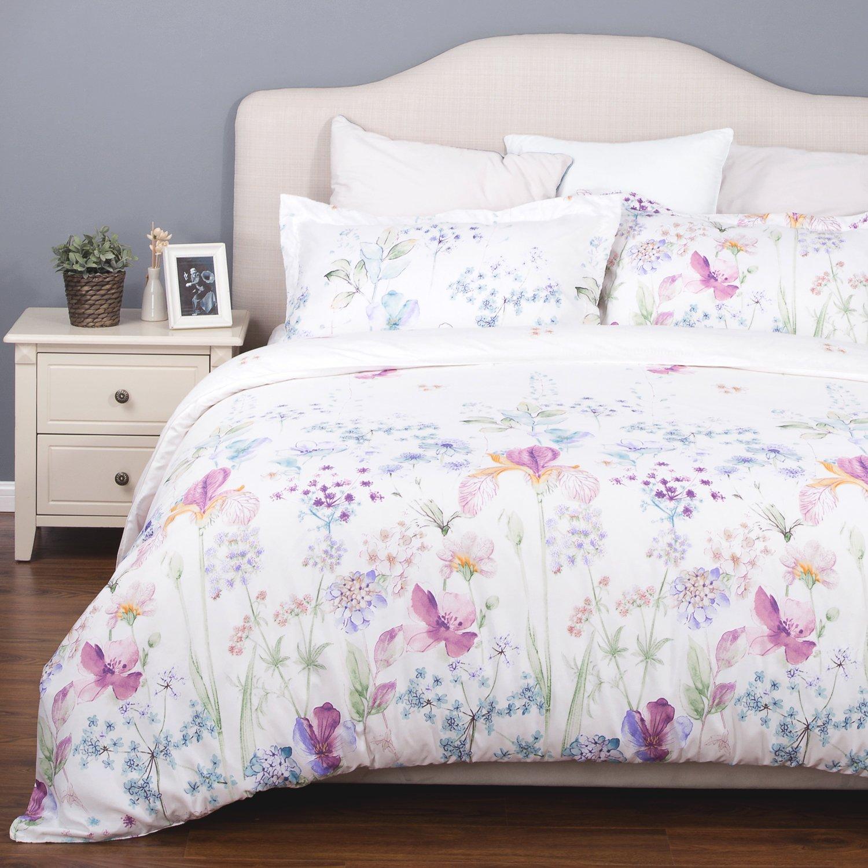 Bedsure Printed Floral Duvet Cover Set Queen/Full Size White Soft Duvet Cover 3 Pieces Bedding Sets
