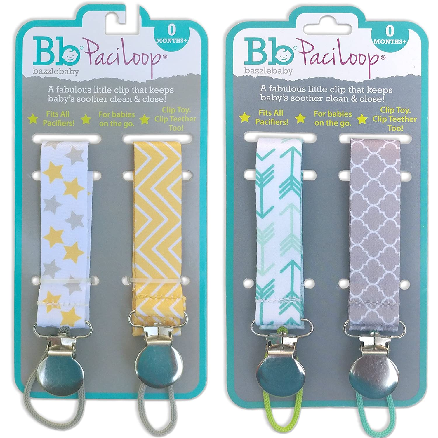 Bazzle Baby Paci Loop, 4 Piece Durable Pacifier Leashes with Secure Snaps to Keep Pacifiers Close & Clean on The Go, Great for Car Seats & Strollers, ...