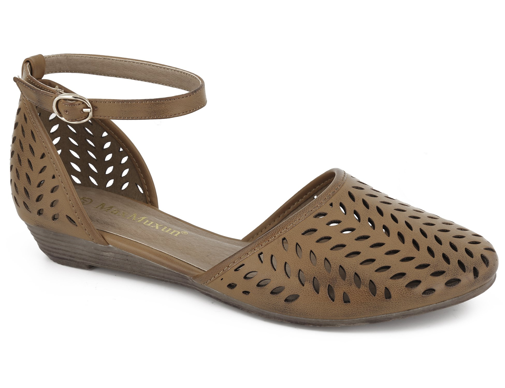 6fc7d7747f21 MaxMuxun Womens Roman Ankle Strap Cage Closed Toe Brown Flat Sandals Size 5