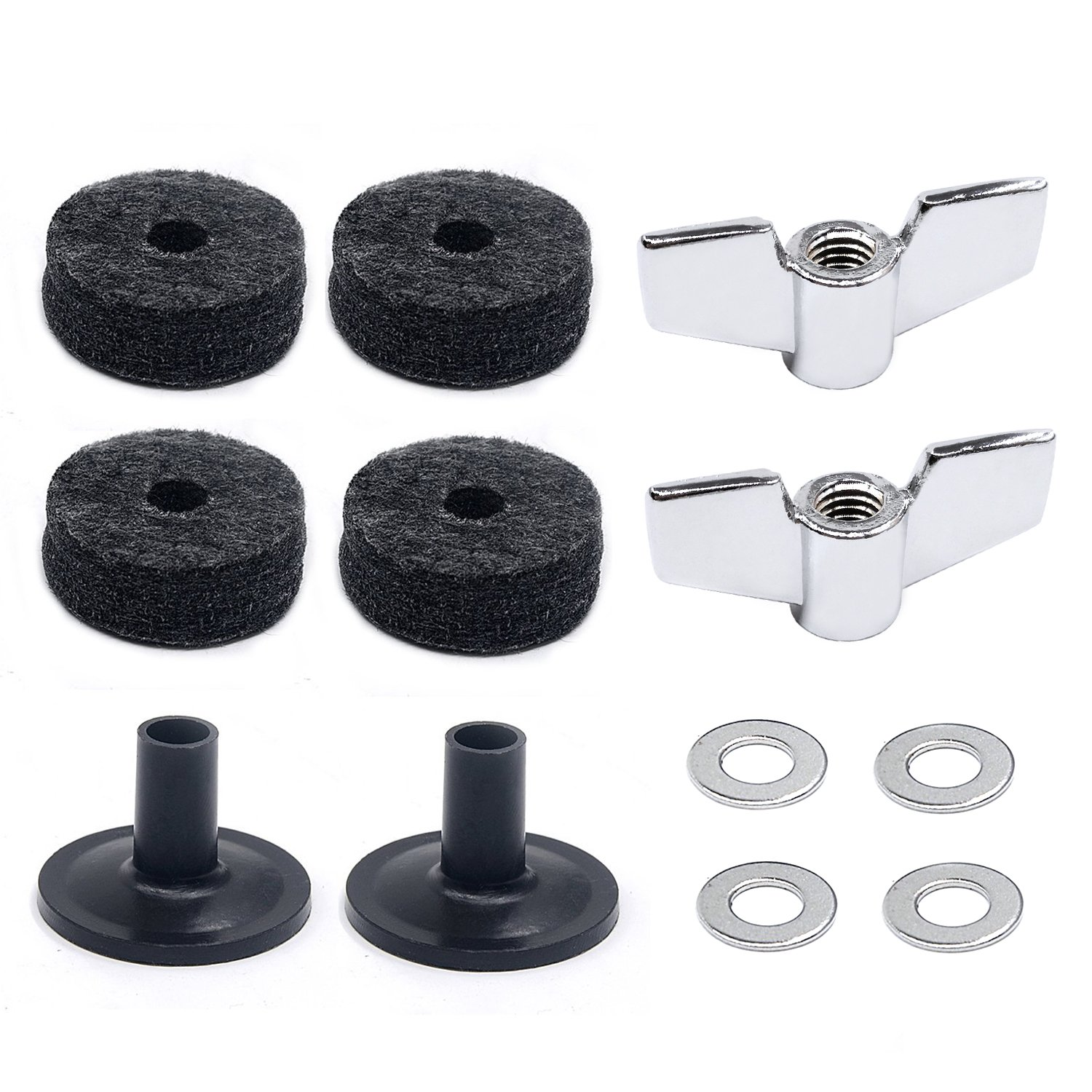 Lanpu Drum Accessories Kit: Cymbal Felts, Cymbal Sleeves, Wing Nuts
