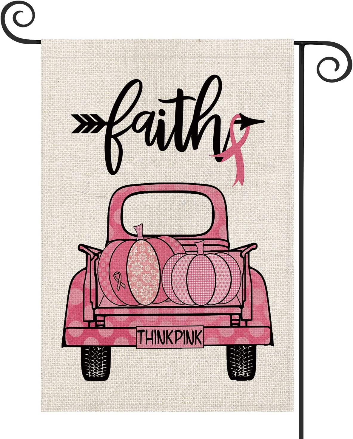 AVOIN Breast Cancer Awareness Pink Truck Pumpkin Ribbon Garden Flag Vertical Double Sided, Faith Arrow Flag Yard Outdoor Decoration 12.5 x 18 Inch