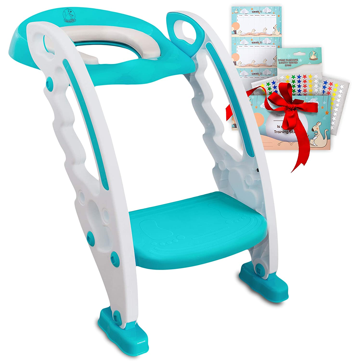 """Toilet Training Seat for Toddlers – Adjustable Stair Potty Seat with Ladder & Handles for Standard 16"""" Toilets – Kids Foldable Step Potty Chair with Anti-Slip Toilet Steps by BabySeater, Turquoise"""