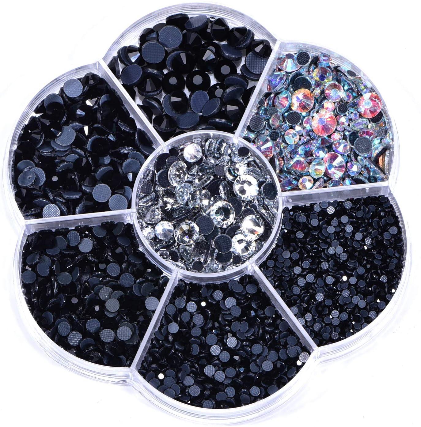 OLOOYA DMC Hotfix Rhinestone 3000pcs tamaños mezclados 1 caja Hotfix Rhinestones redondos cristales gemas piedras de cristal para la fabricación de joyas de vestuario (jet)