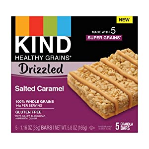 KIND Healthy Grains Bars Drizzled, Salted Caramel, Gluten Free, 1.2 Oz, (8 Pack), 40Count