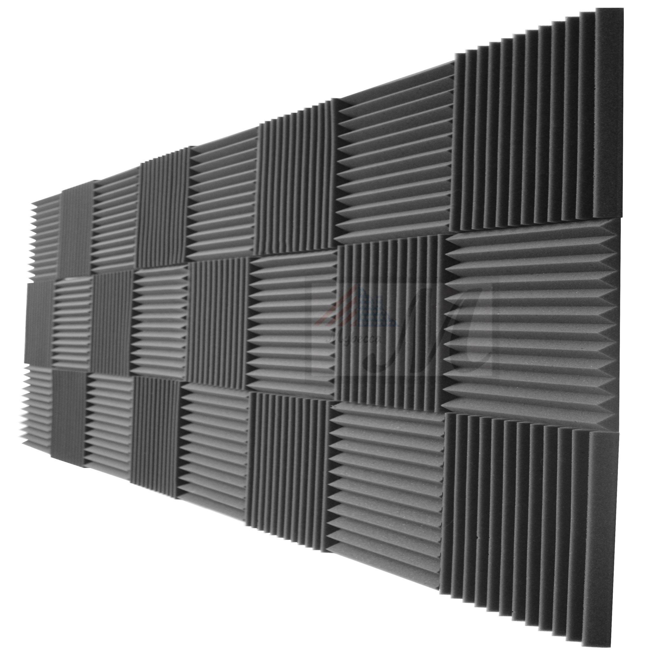 Mybecca 24 Pack Acoustic Foam Panels 2'' X 12'' X 12'' Studio Soundproofing Wedges (24 Square Feet), Charcoal