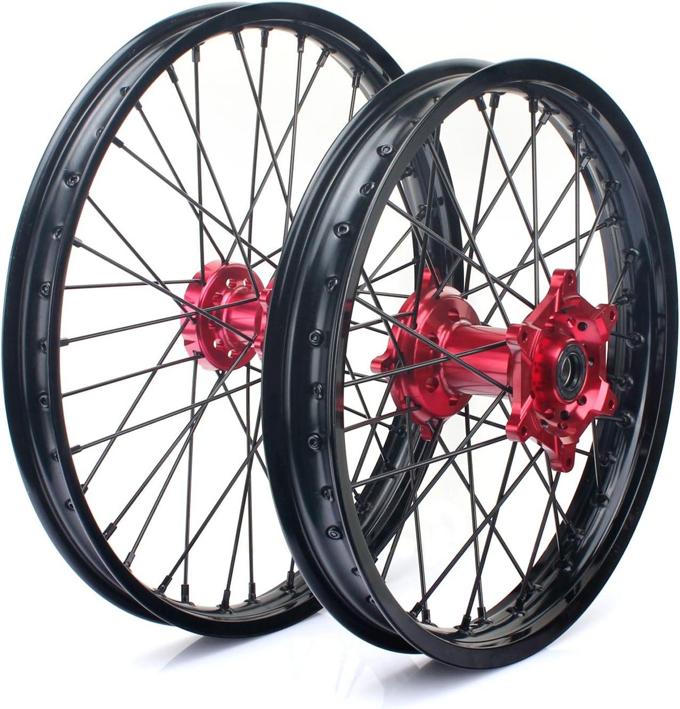 TARAZON 21 18 Off-road Complete Wheel Set Rims Spokes Red Hubs for Honda CRF250R 04-13 CRF450R 04-12 CRF 250X 450X 04-16