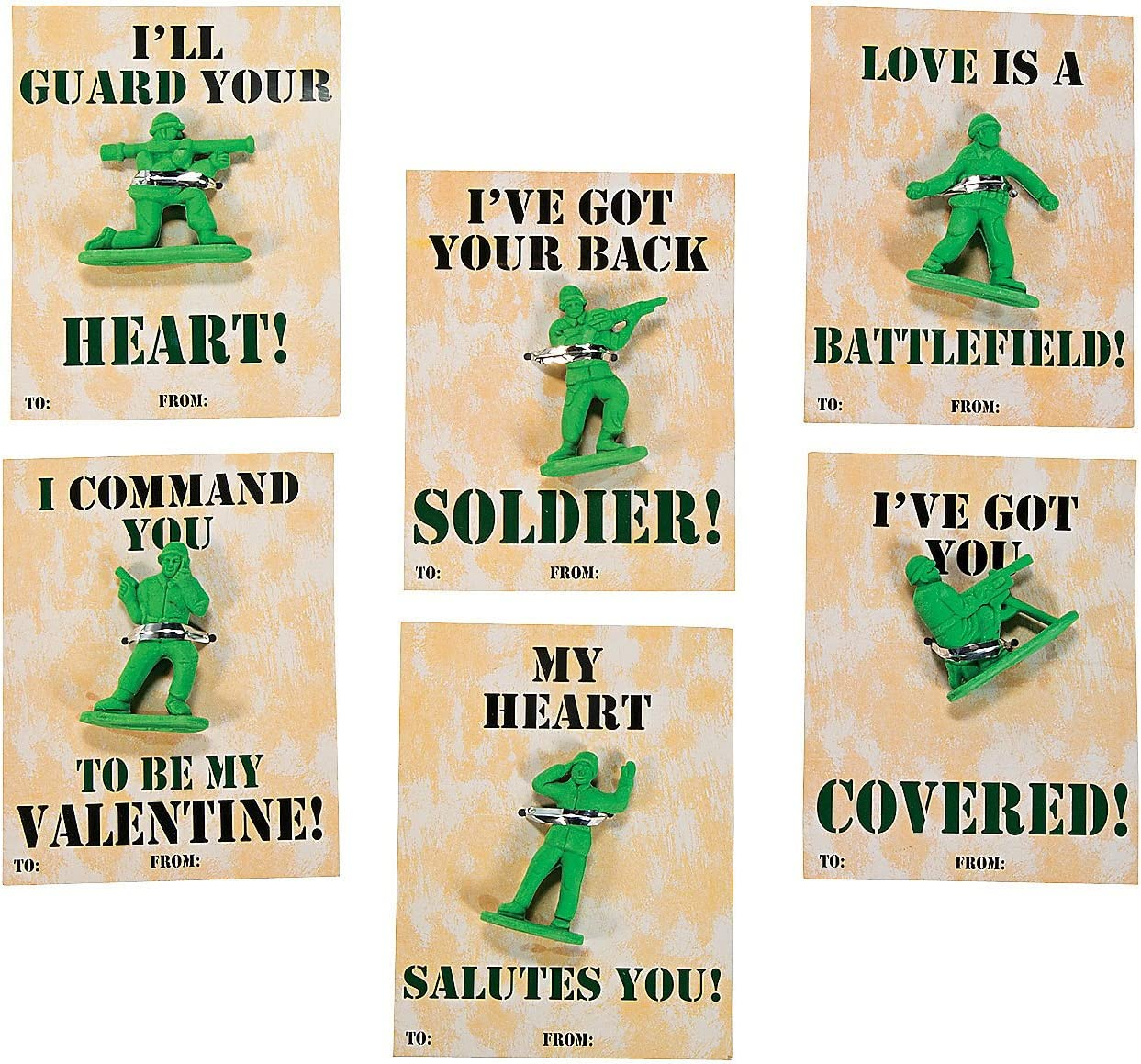 Each 1 1//2-2 Eraser Set of 24 Fun Express Gift Cards with Soldier Erasers 3 1//2 x 4 1//2 Card Erasers Color- Green Size IN-13628024
