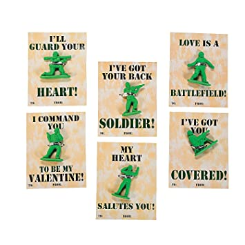 Amazoncom  24 Classroom Army Guy Valentine Cards with Soldier