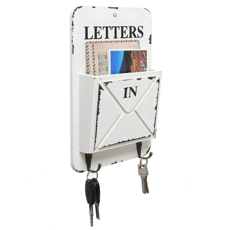 Wood Wall Mounted Mail Sorter, Faux Rustic Design Key Hook Storage  Organizer Rack, Cream
