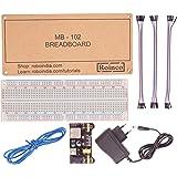 Roinco Breadboard + Power Supply + 12V Adapter + Jumper Wire Set(MM/MF/FF) + Hook Up Wire + Breadboard Platform
