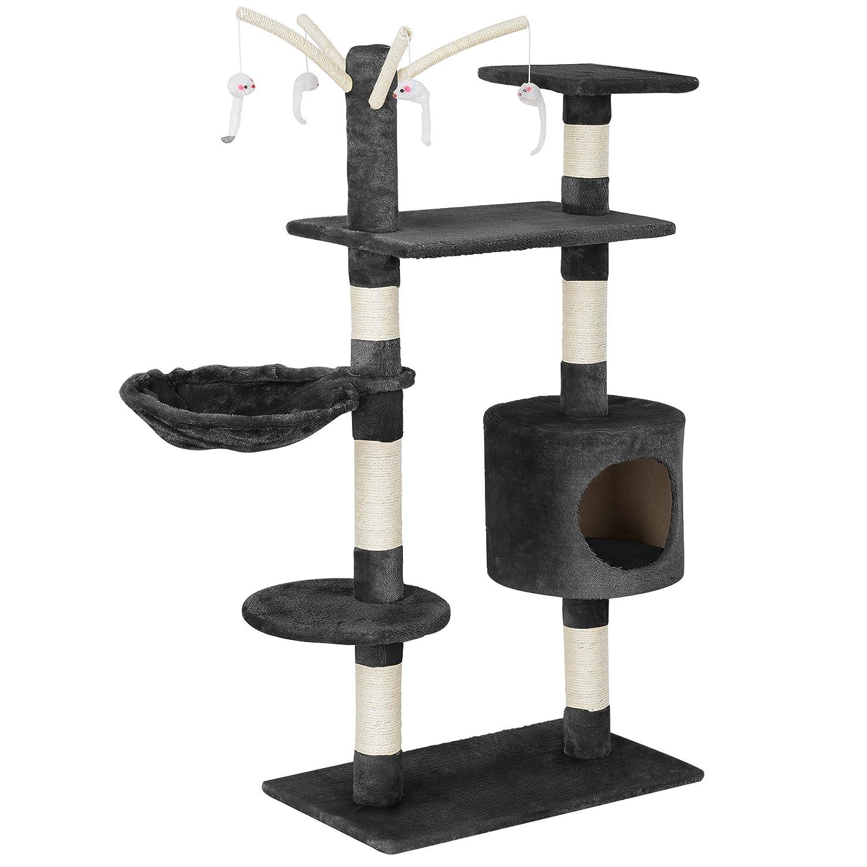[en.casa] chats arbre à chat (env. 65 x 35 x 130 cm)(crème) paniers douillets / plateformes d'observation / sisal / avec de nombreuses possibilités de jouer et de câliner
