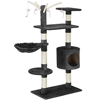 [en.casa] Rascador para gatos (65 x 35 x 130 cm aprox.)(gris) varios niveles / Sisal / con juegos, cueva y hamaca: Amazon.es: Hogar