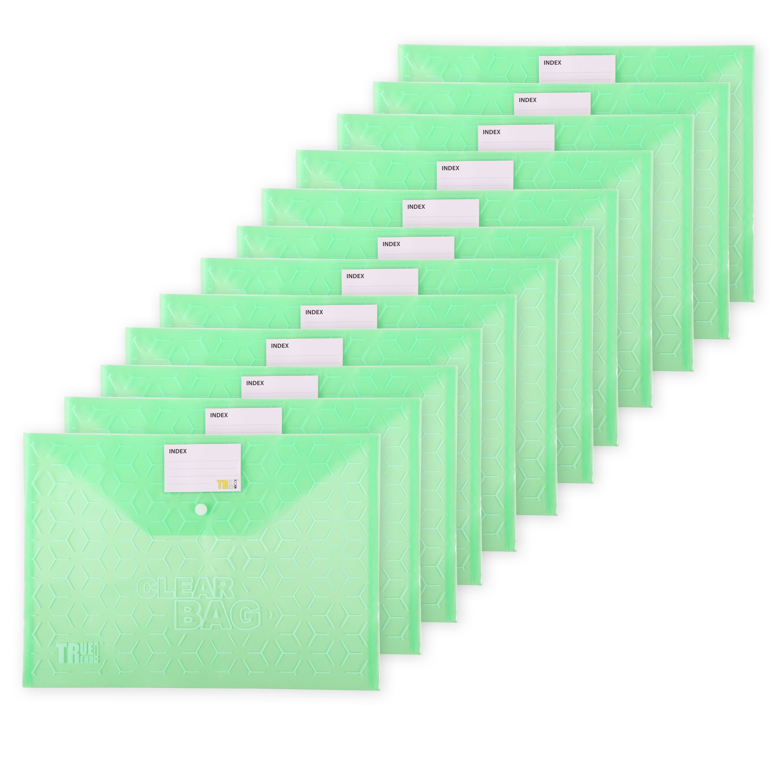 TRUETREND Clear Plastic Document Folder | With Snap Button Closure – Large, Durable File Organizer – Multi-Pack Value + Fits for Letter size, A4 and FC size, Bulk of 12 Count