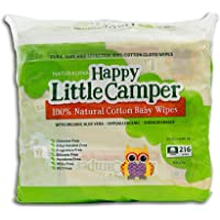 Happy Little Camper Baby Wipes, Natural, All-Cotton with Organic Aloe, Sensitive Skin, 216 Count