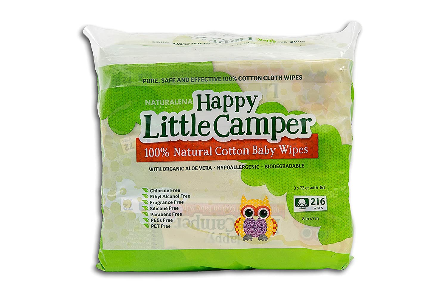 Happy Little Camper Baby Wipes, Natural All-Cotton with Organic Aloe, for Sensitive Skin, 216 Count Naturalena Brands