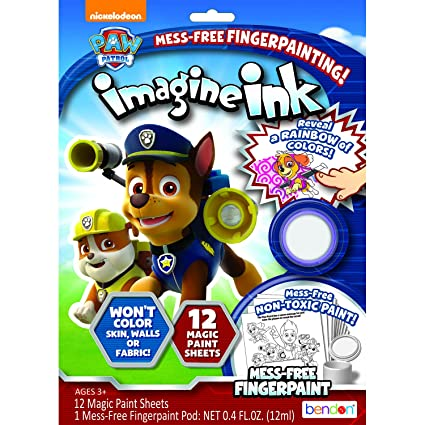 Bendon Paw Patrol Imagine Ink Mess-Free Fingerpaint Set with 12 Coloring  Sheets (73804)