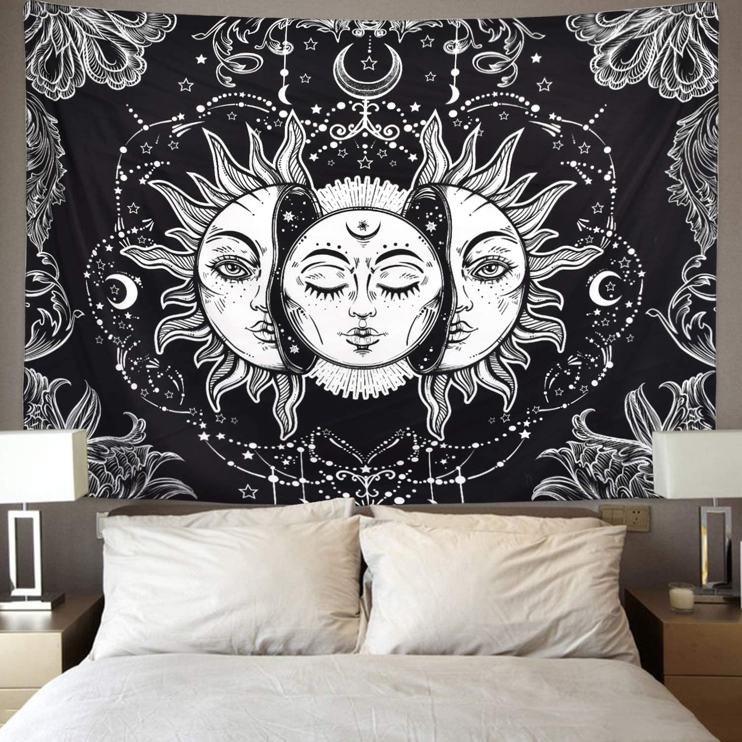 XL:92 x 71 Sun and Moon Tapestry Burning Sun with Star Tapestry Psychedelic Tapestry Black and White Mystic Tapestry Wall Hanging
